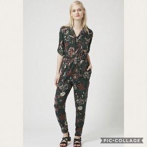 TopShop Floral Thistle Print Boilersuit Jumpsuit